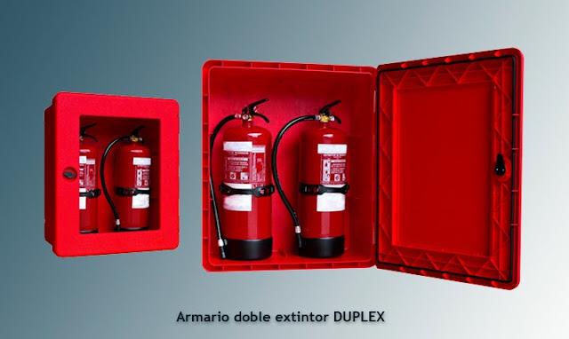 Armario extintor doble DUPLEX para extintores de 9/12 Kgs.