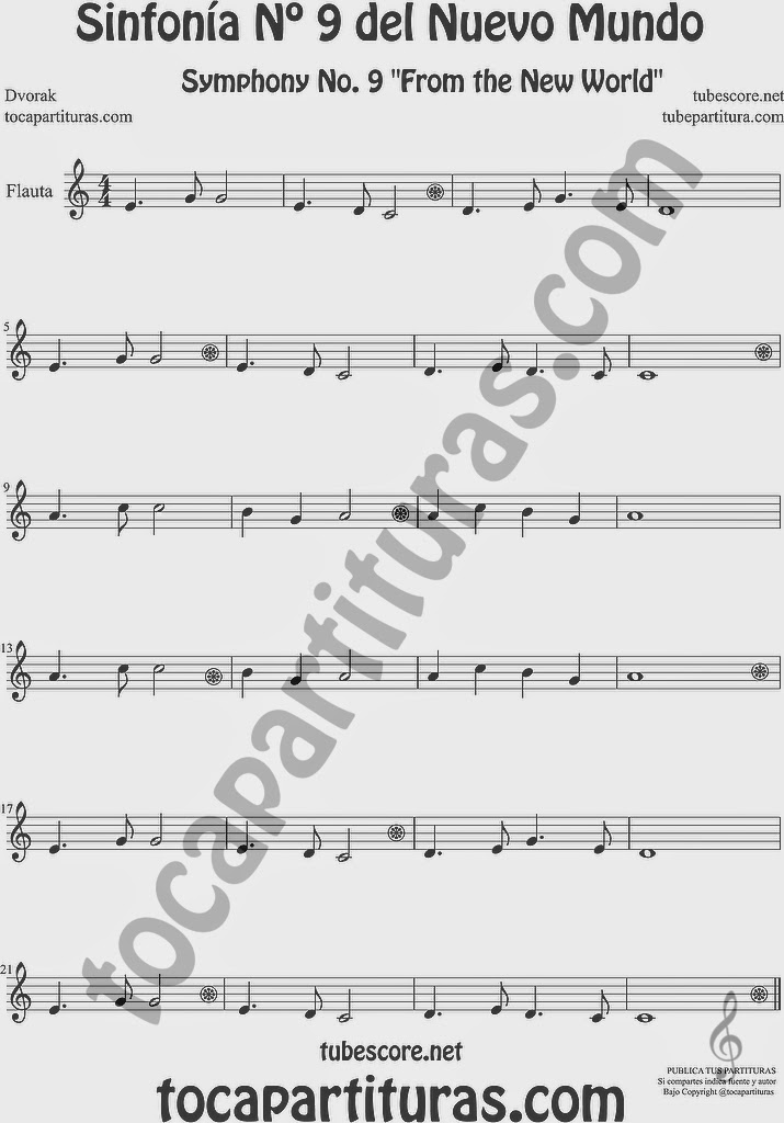 Sinfonía del Nuevo Mundo Partitura de Flauta Travesera, flauta dulce y flauta de pico Sinfonía Nº 9 DvorakSheet Music for Flute and Recorder Music Scores 9º Simphony From the New World