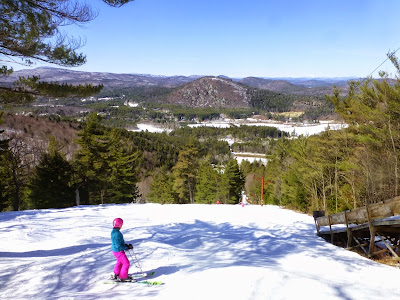 Views of the southern Adirondacks and beyond from the top of Poma 1 at Hickory Ski Center, Sunday 3/29/2015.  The Saratoga Skier and Hiker, first-hand accounts of adventures in the Adirondacks and beyond, and Gore Mountain ski blog.
