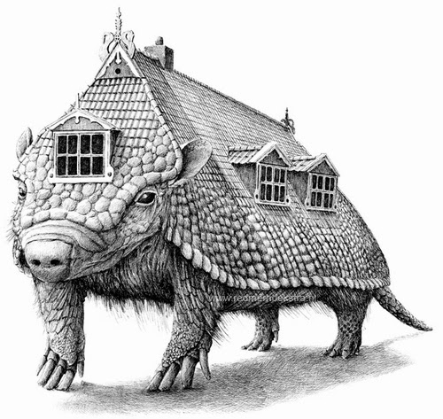 06-Armadillo-Roof-Redmer-Hoekstra-Surreal-Animals-Ink-Drawings-www-designstack-co