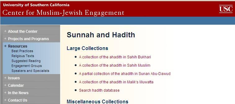 MSA-USC Hadith Database