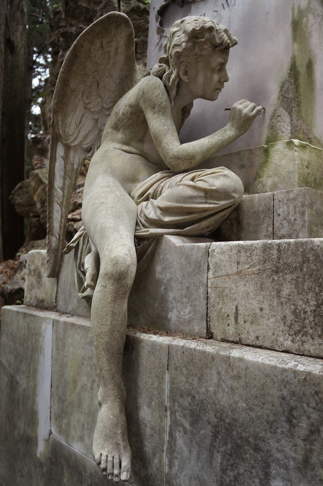 Beautiful stone statuary in the Staglieno Cemetery in Genoa Italy