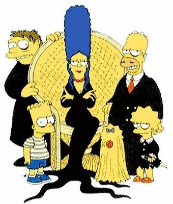 Simpsons vestidos como a Familia Adans