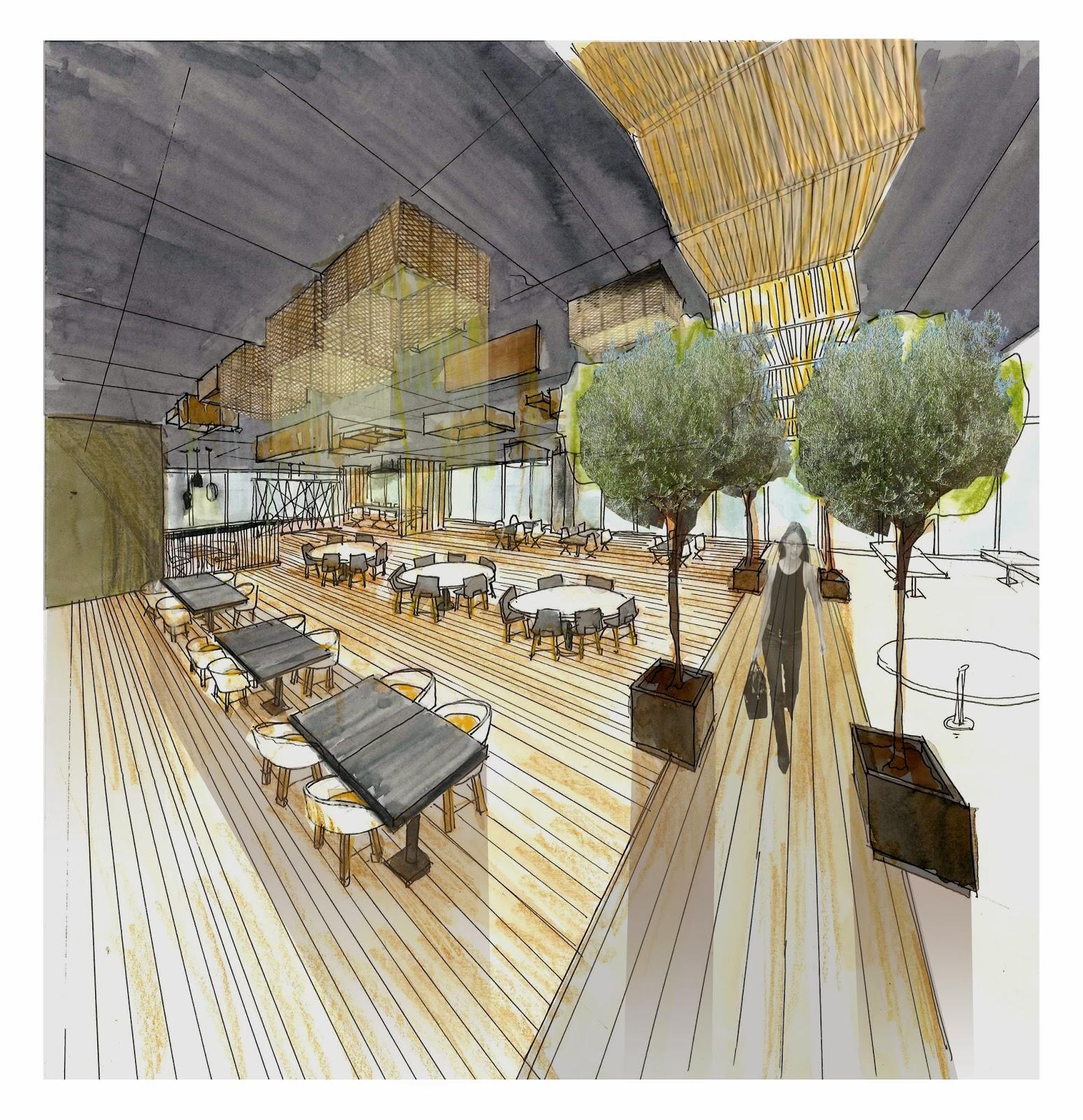 Dibujo técnica mixta zona restaurante