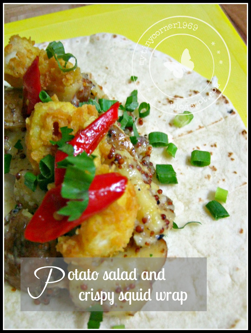 Potato Salad and Crispy Squid Wrap