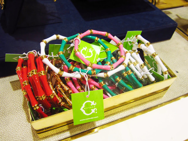 Red, white, pink and green enamel bamboo bracelet