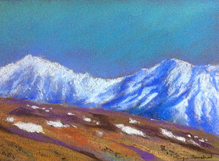 Soft pastel painting of Komic village from Spiti valley in Himachal by Manju Panchal