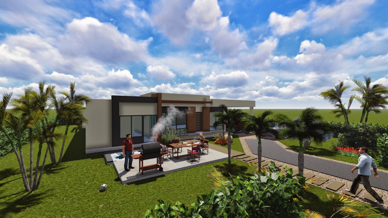 Dise o de casa campestre moderna 250 m2 for Fachadas de casas campestres de un piso