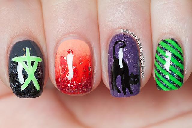 Halloween Nail art Witches blair witch salem black cat