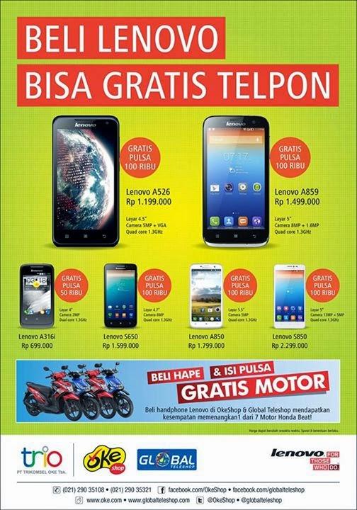 Promo Smartphone Lenovo Gratis Pulsa hingga 30 April 2015