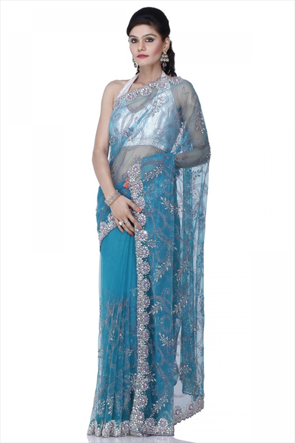 Cyan Blue Net Saree
