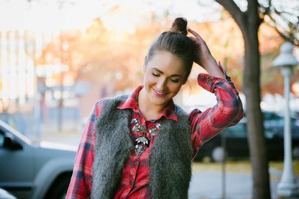 Plaid, fur, & statement necklace   In good faith, Tess