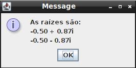 Aplicativo em Java que resolve uma equação do segundo grau, todo feito de modo gráfico, em caixas de diálogo. Código inteiramente comentado.
