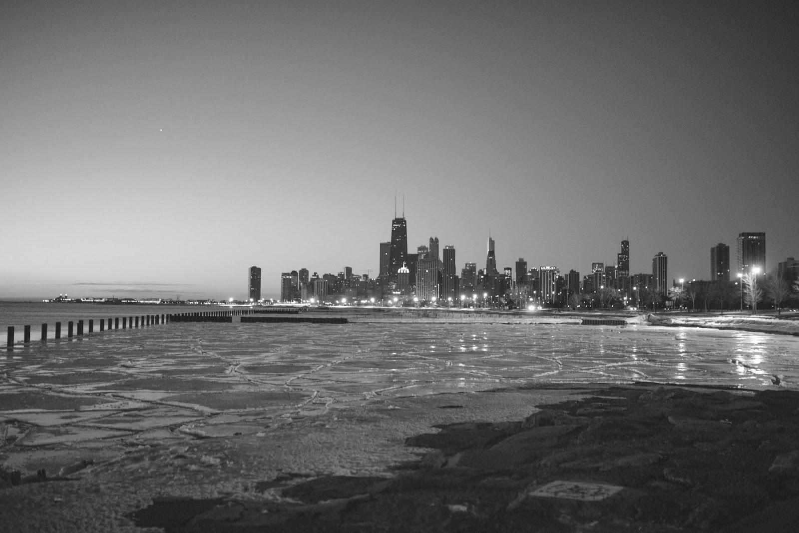 Winter Chicago Sunrise B&W