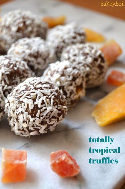 banana, papaya, mango and coconut healthy truffles