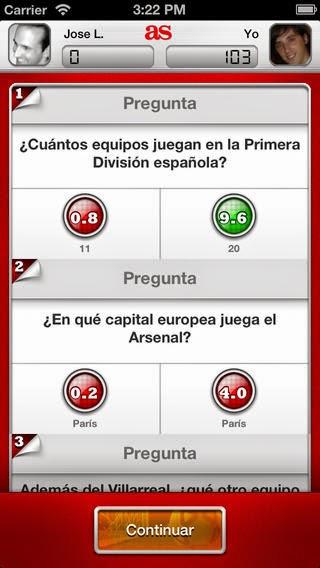 TriviAS, aplicación de preguntas de fútbol para iphone