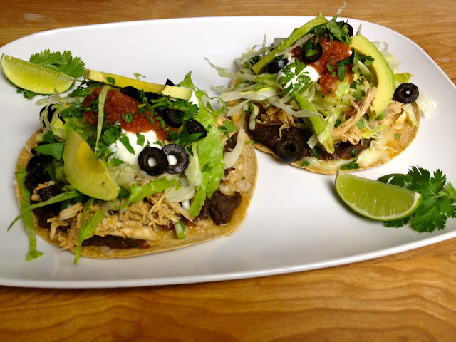chicken tostadas on home baked flour tortillas to make 4 tostadas ...