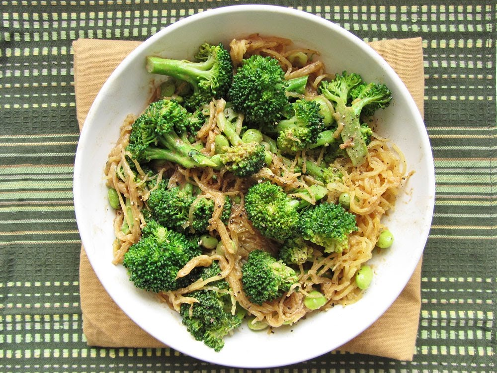 Sesame Soy Spaghetti Squash with Broccoli and Edamame | Once Upon a ...