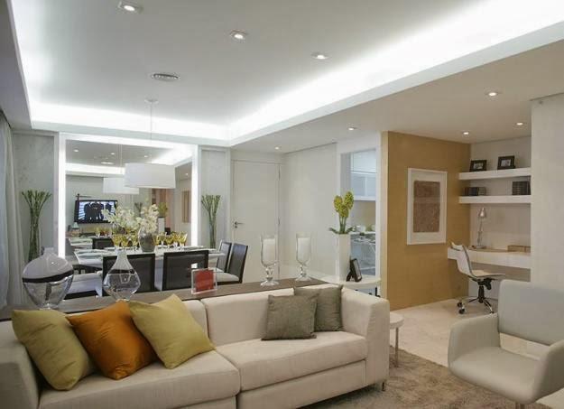 Projeto Gesso Sala Pequena ~ Decoração de teto nível 2 teto com cores pastel Apesar dasutileza