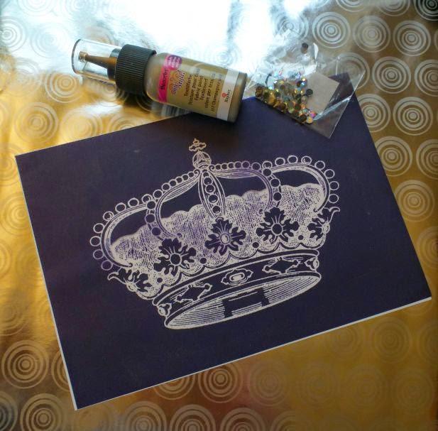 """MyStyle Schablone """"Krone"""", Hotfix Strasssteine und MyStyle Farbe champagner gold"""