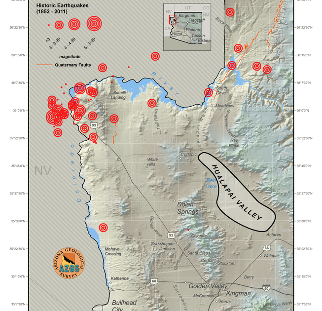 Arizona Geology Some Lake Mead seismic activity due to quarry blasts