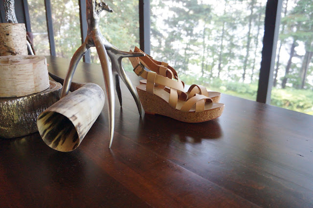 Brown wood table, hollow horn, birch logs and candles, Joe Fresh Nude Flatform/Platform Sandals