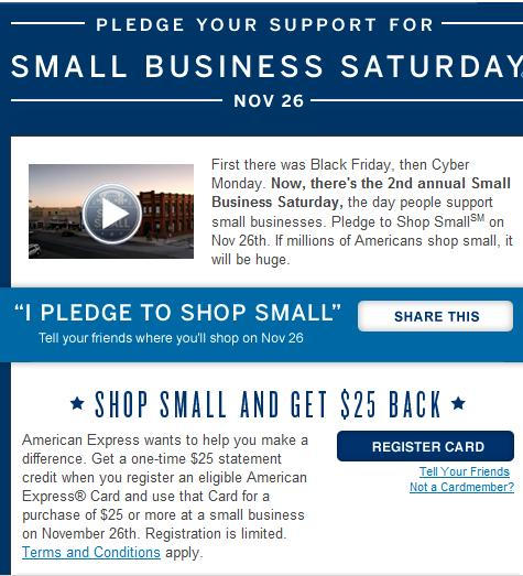 Shop small businesses on saturday nov 26 and receive a 25 for Amex small business credit card