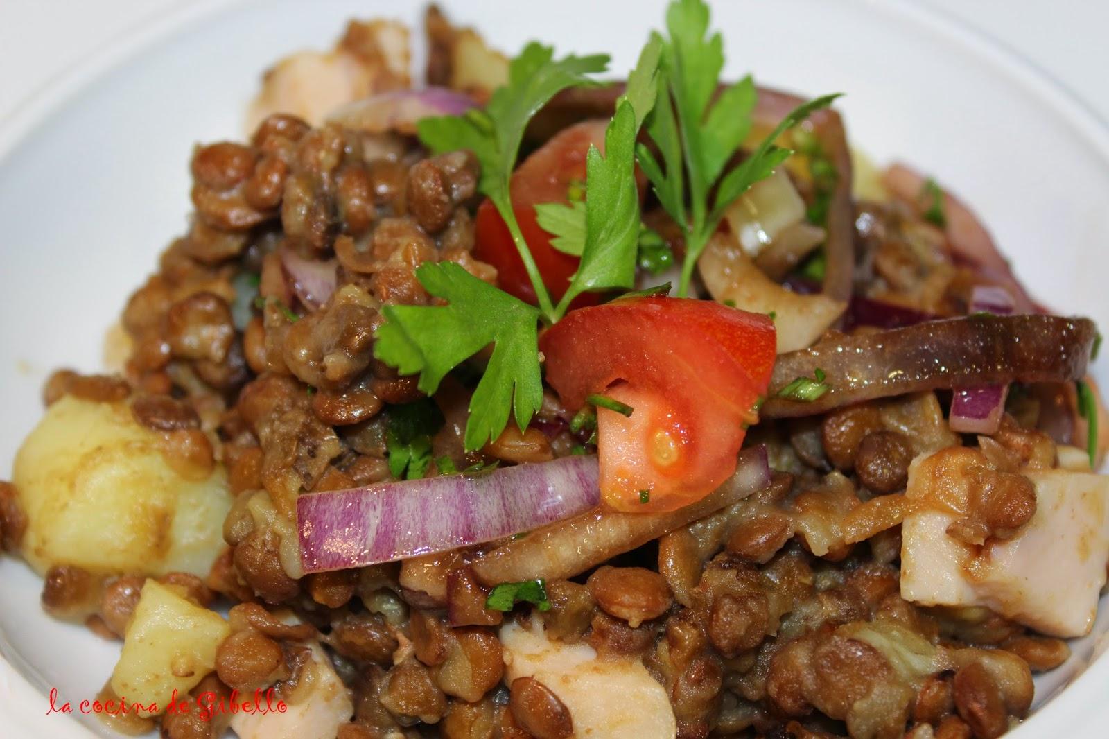 La cocina de gibello ensalada templada de patatas lentejas y pavo - Lentejas con costillas y patatas ...