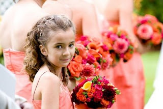 Attendants' bouquets of dahlias and other summer flowers