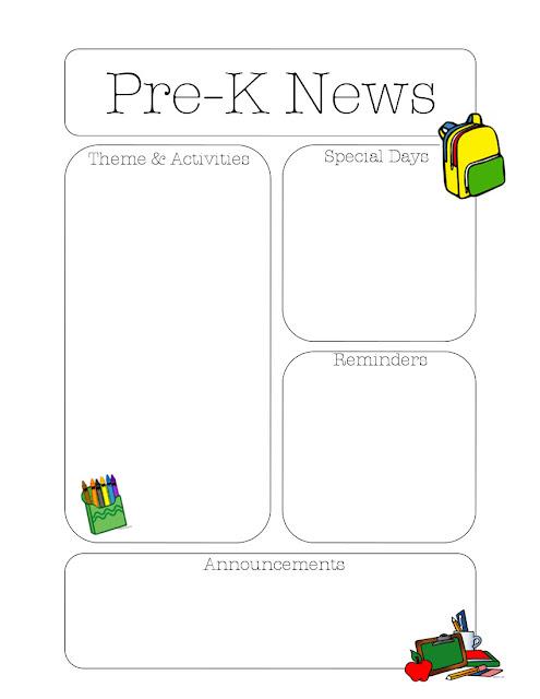 pre k newsletter template the crafty teacher. Black Bedroom Furniture Sets. Home Design Ideas