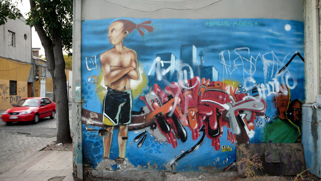 street art and graffiti in barrio brasil, santiago de chile