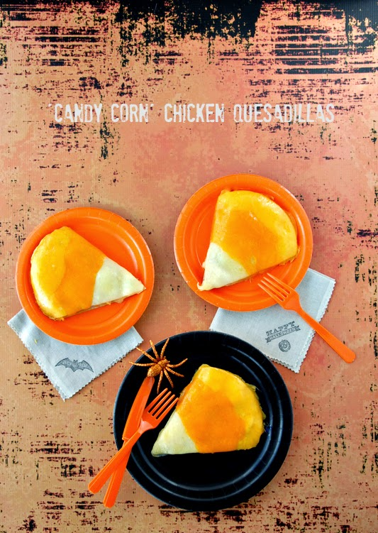 candy corn quesadillas
