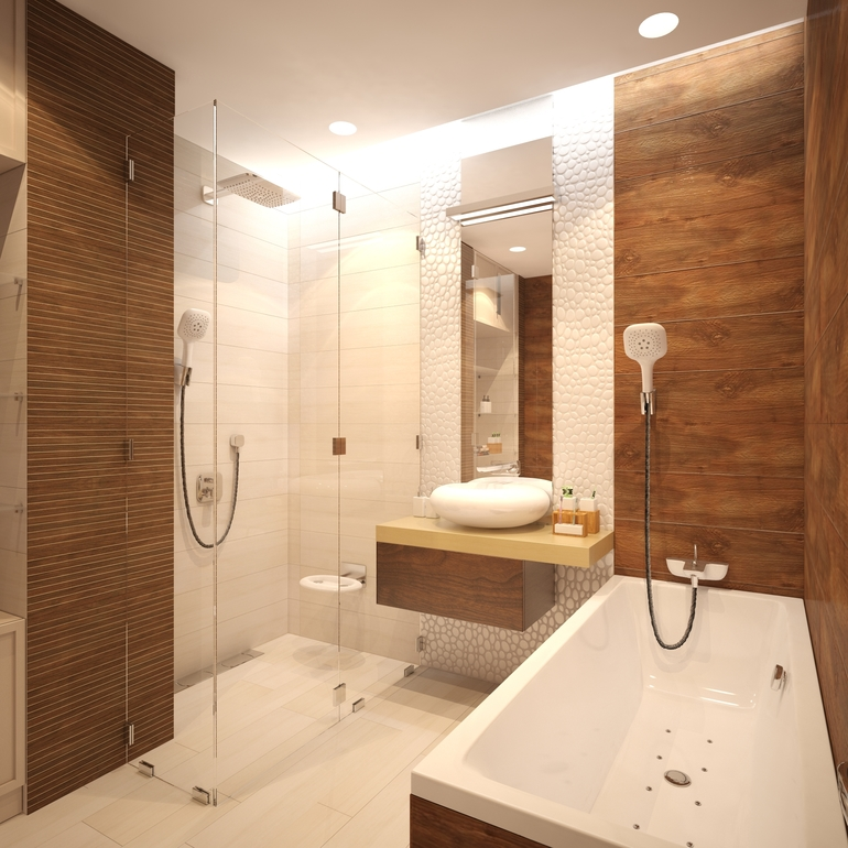 20 banheiros decorados com revestimento que imita madeira  Decor Alternativa -> Banheiro Piso Decorado