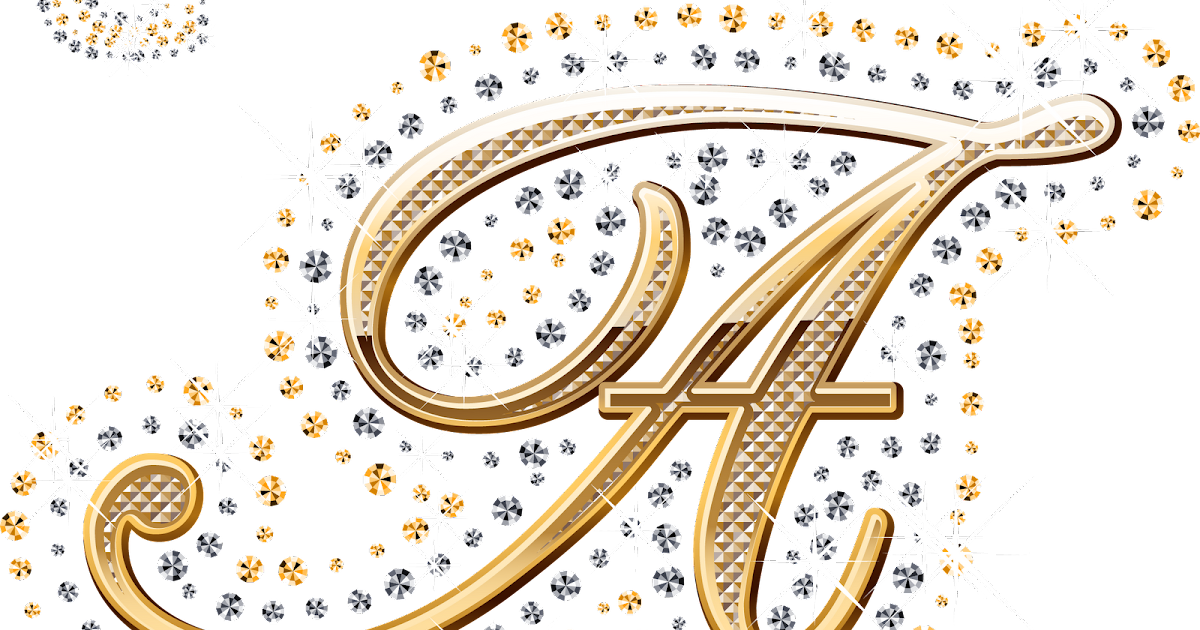 foto de Alfabeto decorado dourado com strass em PNG Alfabetos Lindos