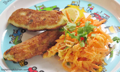 Quark, Leek and Potato Fritters with Apple Carrot Slaw