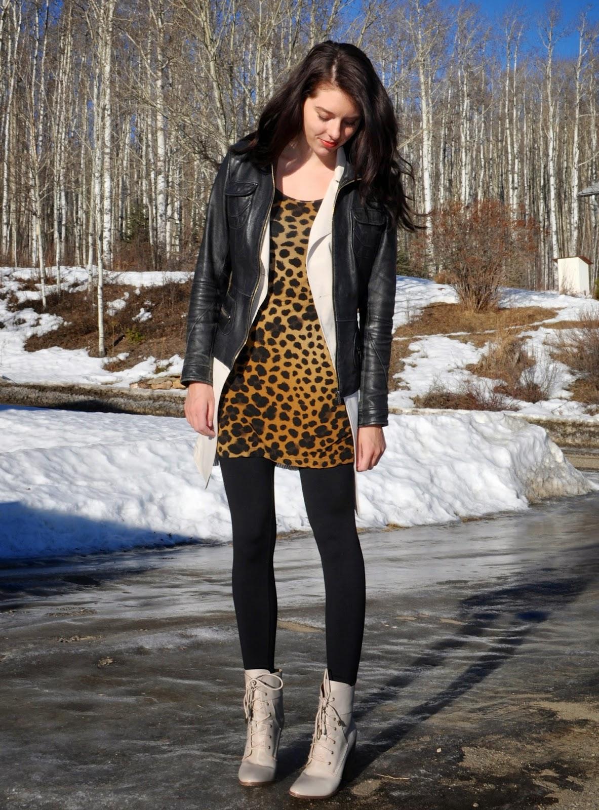 leopard dress in the winter