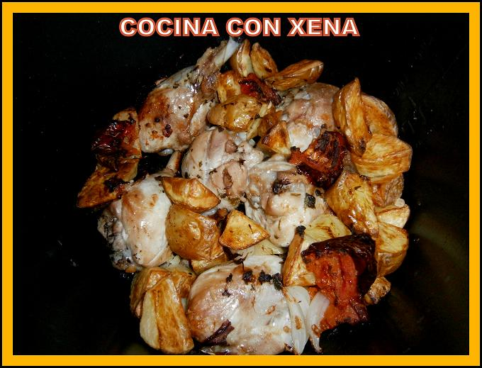 Cocina con xena muslos de pollo al horno con patatas etc for Cocina con xena olla gm d