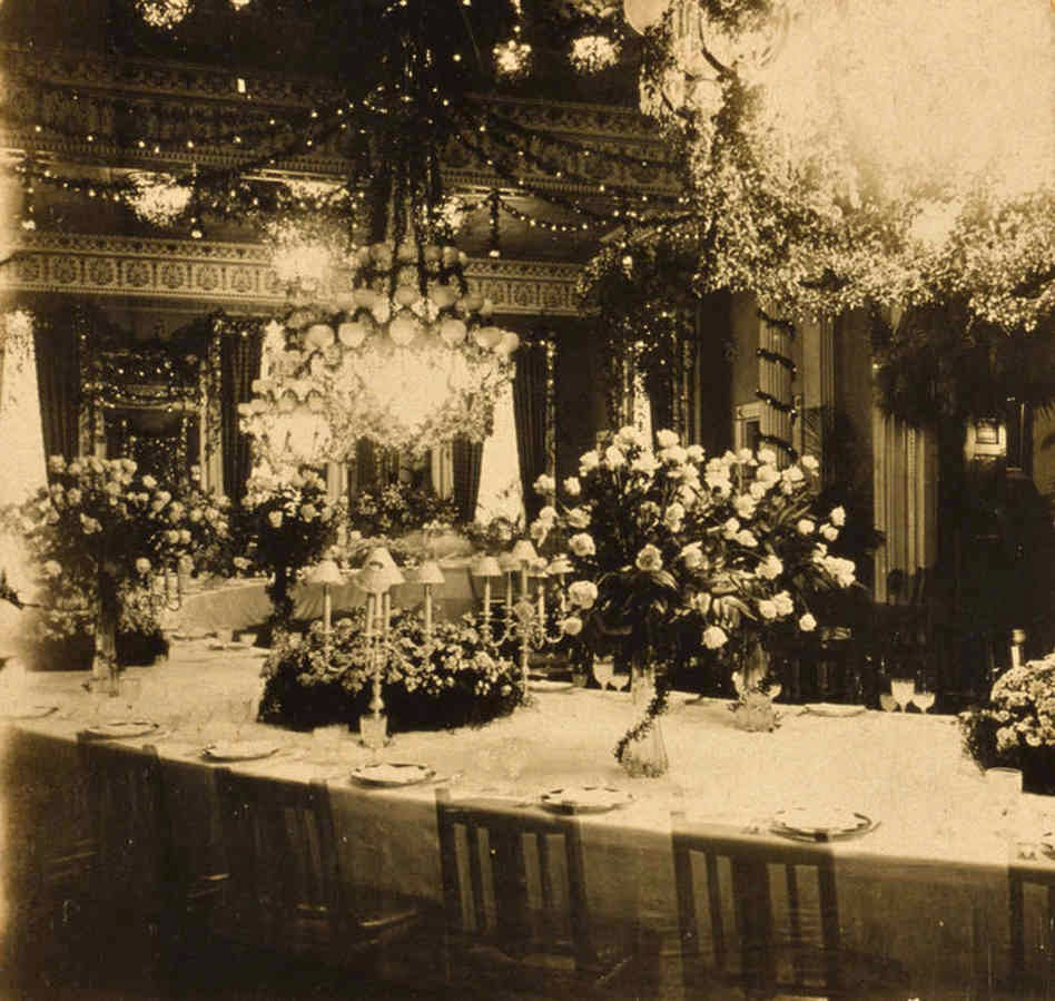Extravagant Floral Arrangements And Lights Decorate The East Room Of White House For State Dinner Given By President Theodore Roosevelt In Honor