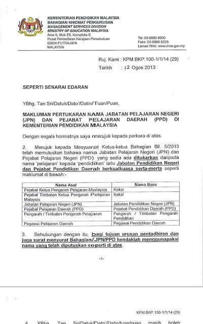 Surat Rasmi Kepada Kementerian Pelajaran J Kosong X
