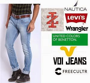 Upto 50% Off + Extra 40% Off on Men's Big Brand Jeans starts Rs.391 ( Wrangler, Levis, Voi, Nautica, UCB, V Dot, Cherokee, CAT, IZOD, Freecultr, U S Polo Assn, HRX)