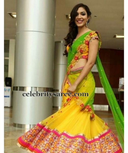 Ritu Varma Yellow Green Half Sari