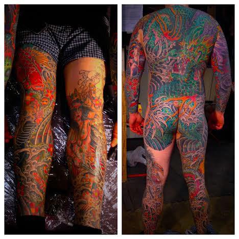 Bodysuit tattoo of dragon by tattoo artist Jason Kunz for Triumph Tattoo