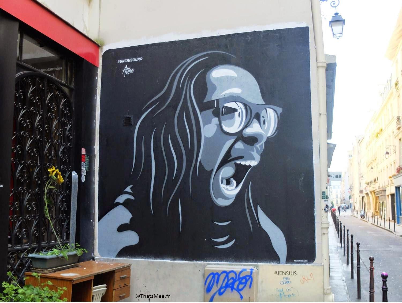 street art homme qui crie #uncrisourd rue Chapon Paris