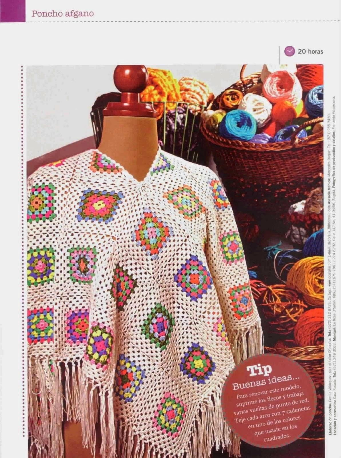 Patrones de Poncho afgano al crochet