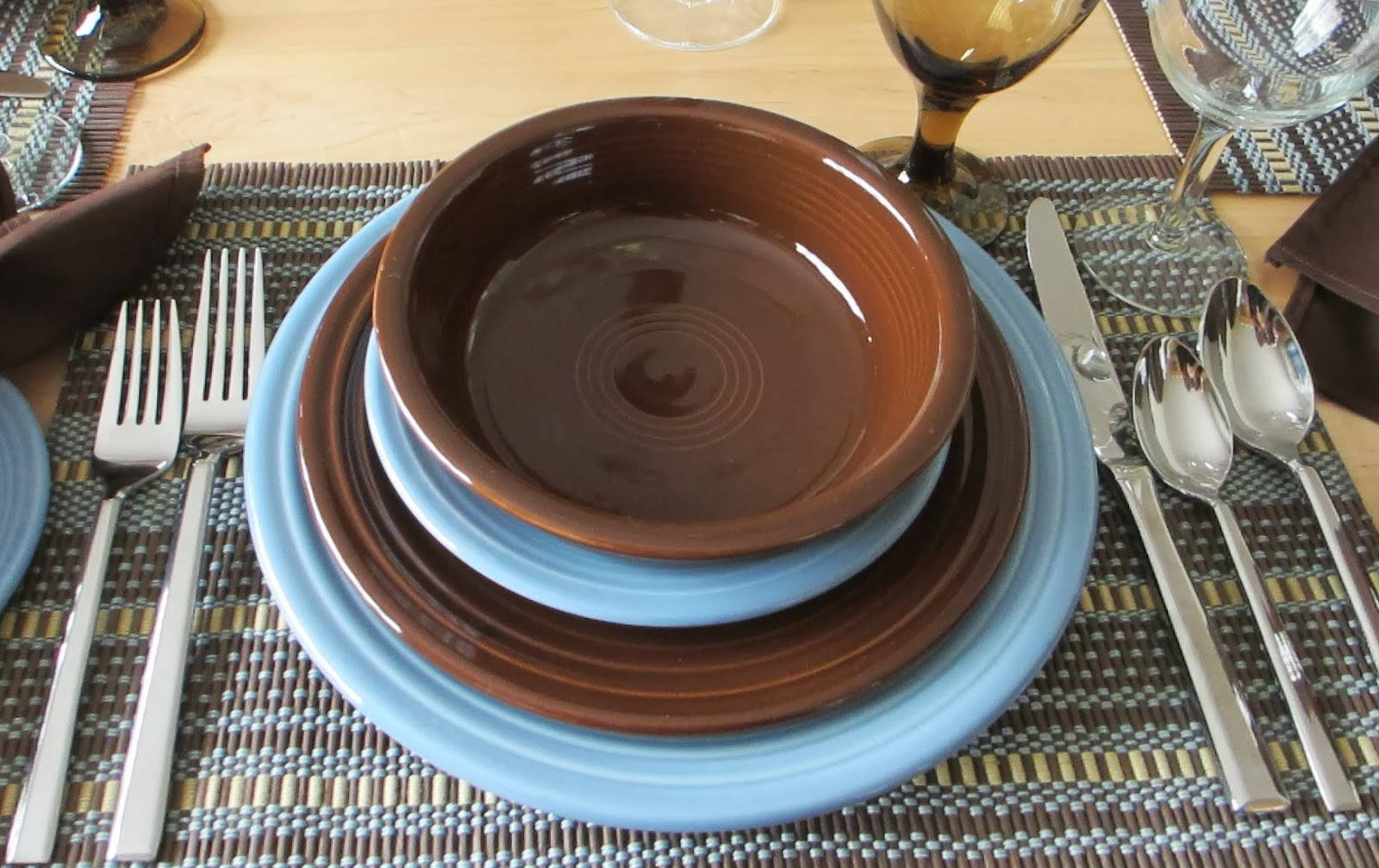 ... pat chose chocolate and retired periwinkle fiesta since these colors were found in the placemat · fiestaware tablescapes google ... & Fiestaware Chocolate - Pumpkin Chocolate Chip Cookies