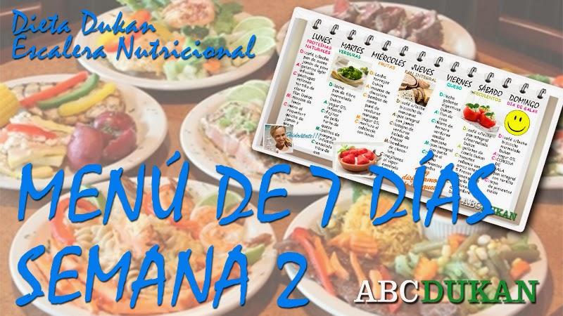 menu de 7 dias escalera nutricional 2º semana