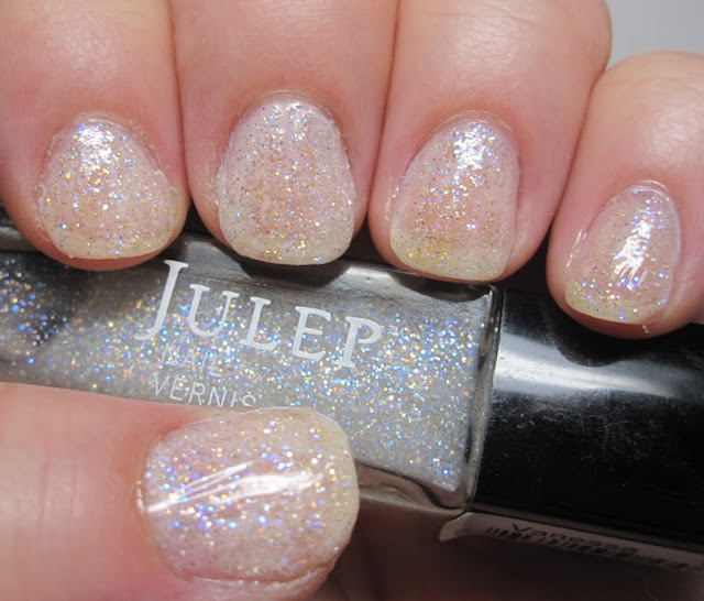 Julep Vanessa glitter over Savvy Sheer French White
