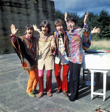 The Beatles perform 'I Am The Walrus' for the film Magical Mystery Tour.  West Malling Air Station, Kent, England. 20th September 1967