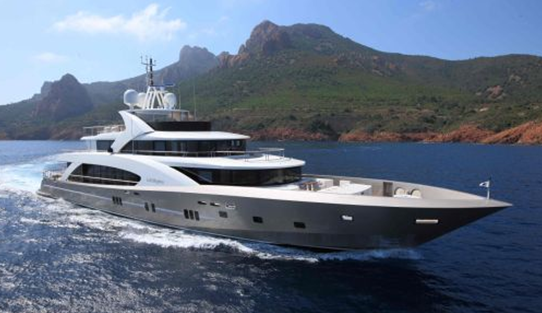 photos of exterior of 5000Fly la pellegrina super yacht ship boat built by couach shipyards in france