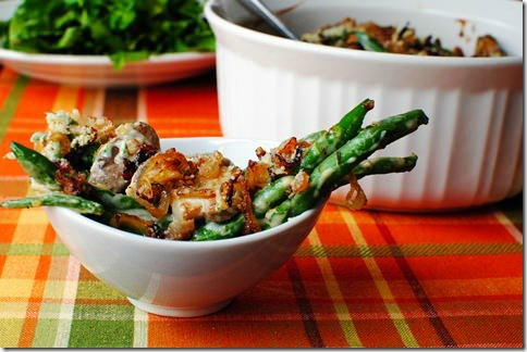 Lighter Green Bean Casserole with Crispy Shallots from Iowa Girl Eats